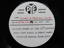 Dame Flora Robson, Robert Harris, Sacred And Profane Love, 17th. C Love Poems.