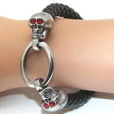 Leather Bracelet With Silver Tone Metal Skulls With Red Crystal Eyes