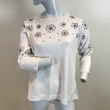 M&S Per Una Ladies Beige Winter White Sequin Detail Slouch Fit Jumper UK Size 10