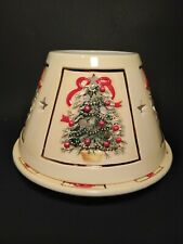 Cream Gold Trim Christmas Trees & Wreaths Large Candle Shade With Plate