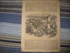 Superb Antique 1857 English Fox Hunting Foxhound Dog Horse Victorian Art Print N