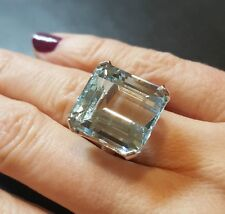 Ladies 23 carat Aquamarine & 14K White Gold Ring!  Size 6.5 Like Meghan Markle!