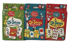 New Dr Seuss Set Of 3 Educational Flash Cards Numbers, Colors & Shapes, ABC's