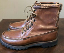 WC RUSSELL Moccasin Co. Brown Leather Hunting Boots PH 7 D