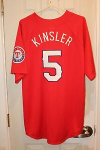 red Texas Rangers Ian Kinsler (5) stitched button-down Majestic jersey (NWT) - L