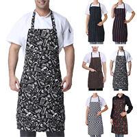 Men Women Cooking Kitchen Restaurant Chef Home Adjustable Bib Apron Dress Pocket