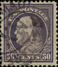 #421 1914 50 CENT FRANKLIN PERF12 ISSUE USED--VF--LITE CANCEL