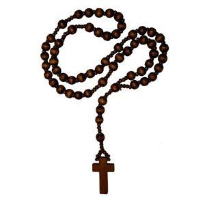 Rosenkranz aus Holz in drei versch. Farben braun schwarz Holzperlen Kette Kreuz