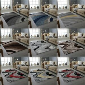 MODERN WAVES DESIGN RUG BLACK GREY BROWN SOFT LARGE FLOOR BEDROOM CARPET RUGS