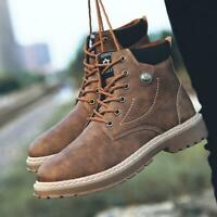 Mens Ankle Boots Winter Combat Hiking High Top Desert Work Lace Up Ankle Shoes