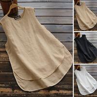 ZANZEA 8-24 Women Crewneck Sleeveless Plus Size Top Tee T Shirt Cotton Blouse