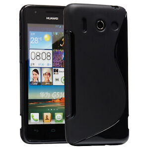 Huawei Ascend G510 Hülle Tasche Case Schutz Case Etui Back Cover schwarz