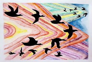 Original ink and coloured pencil illustration 'Migrating' by Michelle Ranson