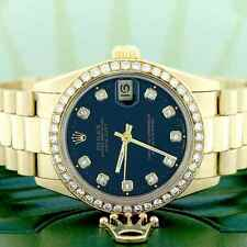 Rolex President Datejust Gold 31mm Womens Watch w/Black Dial & Diamond Bezel