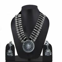 Oxidised Silver Plated Strand Necklace Earring Set for Women Girls Gift Item