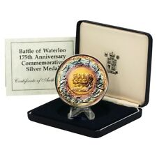 175th Anniversary Waterloo Commemorative Silver Medal.  Marvelous Toning!