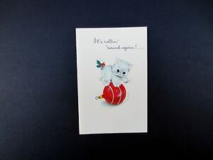 Vintage Unused Xmas Greeting Card White Kitten Playing on Red Glass Ornament
