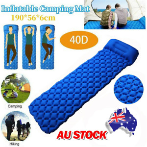 Outdoor Camping Inflatable Mattress Sleeping Pad Air Mat with Pillow Portable AU