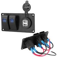 12V-24V Car Marine 2Gang Circuit LED Rocker Switch Panel Breaker 3.1A dual USB