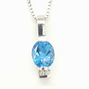 "Oval London Blue Topaz 9x7 Diamond .03tcw14k white gold Statement Necklace 20"""