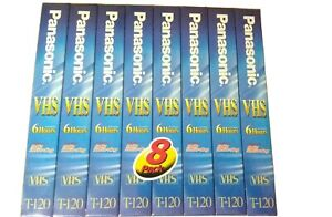 Panasonic T-120 VHS Tapes 6Hrs 8 Pack NEW SEALED Blank VideoCassette A-5