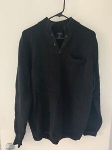 J Crew Thermal Cotton 1/4 button PULLOVER SWEATER Black sz L barnes rrl apc vine