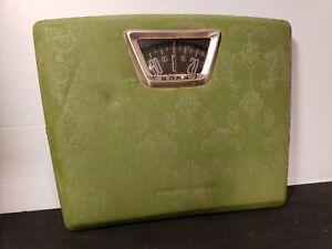 Vintage Borg Mid-Century Green Padded Vinyl Bathroom Scale USA