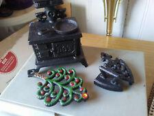 Vintage Lot Cast-Iron Miniature Toys, Stove,  Frying pan, trivets and Sad Iron