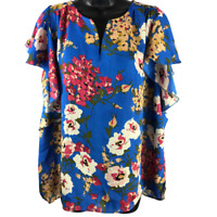 Umgee Multicolor Floral Short Sleeve Top Women's Size Large