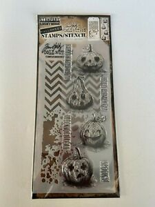 *NEW* TIM HOLTZ (Stampers Anonymous) STAMPS & STENCIL 'PUMPKINS' Halloween