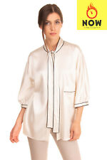 RRP €975 DOLCE & GABBANA Shirt Blouse Size 42 / M Silk Blend Bow Made in Italy