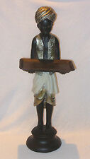 """COLD CAST BRONZE FINISH RESIN FIGURINE OF INDIAN BOY HOLDING TRAY 19"""" TALL"""
