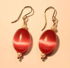 Greenwood Designs Pink Cats Eye Seed Pearls 14k gf Gold Earrings French Earwire