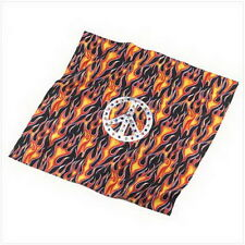 "Peace Flame Bandanna  Cotton   22"" x 21 1/2"" high  By Buzzsaw Los Angeles"