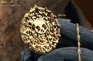 Gold Colour Pirate Of The Caribbean Cursed Aztec Coin Medallion Fashion Necklace