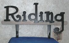 "2 Hook HORSE RIDING Metal Wall Hanging Plaque 13"" x 7 1/2"" Country Western Decor"