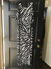 New Chico's Knit Kit Black White Zebra Cold Shoulder Maxi Dress 3 = XL 16 18 NWT