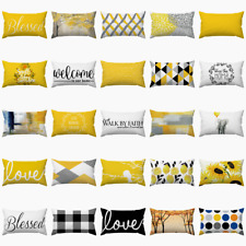 """12x20"""" Yellow White Decorative Cushion Cover 2-Sided Lumbar Throw Pillow Case Us"""