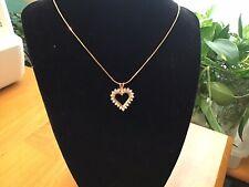 14K yellow gold open heart diamond pendant 1carat total weight