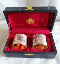 More details for victorian style silver plated with gilt boxed napkin rings with charming cherubs
