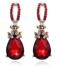 Red Teardrop Dangle Prom Pageant Party Stud Post Earrings Women Jewelry e3003rd