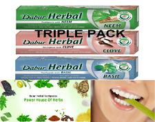 Herbal pastas dentales Neem, clavo & Albahaca - 100ML cada uno-vegetariana Triple Pack-Dabur