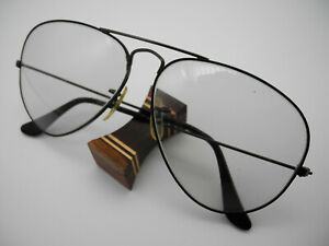 Vintage RAY-BAN USA B&L Black Chrome Aviator Rahmen Frame  58[]14 Gestell Brille