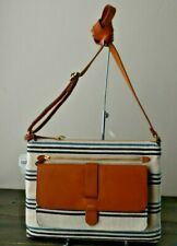 NWT FOSSIL KINLEY NATURAL STRIPE CANVAS CROSSBODY PURSE ZB7747101 $138