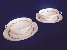 Rosenthal china Continental Goldcrest ruby cream soup bowls & plates  set of 4