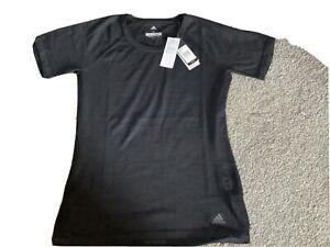 Ladies Black Adidas Running Top Nwt Size M 12-14