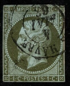 1860 France Scott #12 - 1c Napoleon III Olive Green Imperforate Used, SCV $62.50