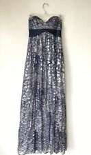BCBG Max Azria Blue Silk Chiffon Silver Metallic Ball Gown Long Formal Dress Sz0