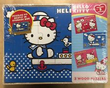 Sanrio 3 PCS Hello Kitty Real Wood Jigsaw Puzzles in Wooden Storage Collectible