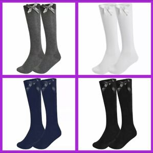 3 PAIRS Girls Knee High School Socks with Bow-Sizes 6-8 / 9-12 / 12-3 / 4-6 /6-9